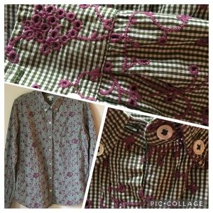 Odille Floral and Plaid Button Down Shirt